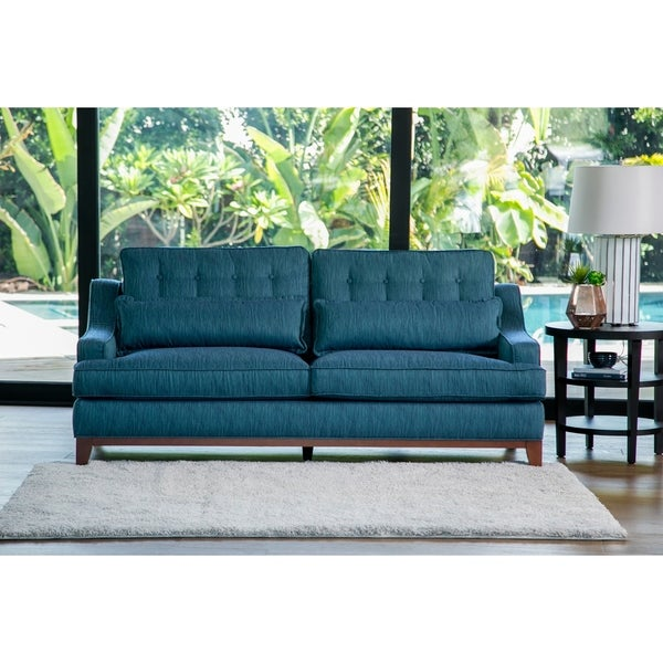 Shop Abbyson Winslow Blue Fabric Sofa - Free Shipping Today ...