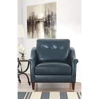 Abbyson Grace Top Grain Blue Leather Chair
