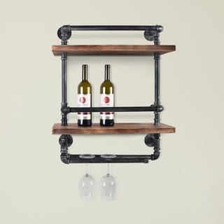 """Miramar Industrial Floating Silver Brushed Gray Pipe Wall Shelf with Walnut Wood - 24"""" x 9.8"""""""