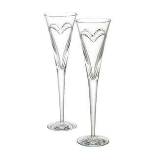 """Waterford Wishes """"Love & Romance"""" Toasting Flute Pair"""