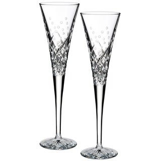 """Waterford Wishes """"Happy Celebrations"""" Toasting Flute Pair"""
