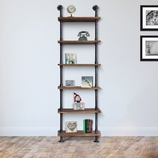 Alta Walnut Wood/Silvertone Brushed Grey Metal Pipe Industrial Floating Wall Book Shelf