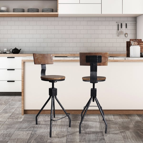 Shop Arbor Industrial Silver Brushed Grey Metal And Walnut