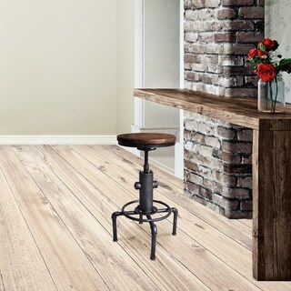 Paige Industrial Silver Brushed Grey Metal and Rustic Ash Backless Adjustable Barstool