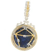Michael Valitutti Palladium Silver Lapis Lazuli & White Topaz Libra Constellation Drop Charm