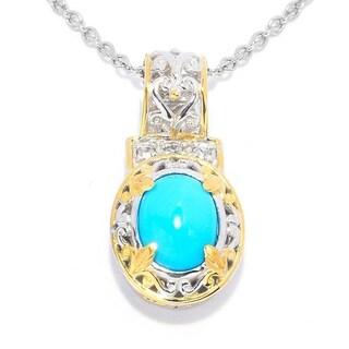 Michael Valitutti Palladium Silver Sleeping Beauty Turquoise & White Zircon Pendant