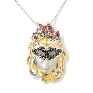 Michael Valitutti Palladium Silver Blue Sapphire & Multi Gemstone Mardi Gras Pin/Pendant