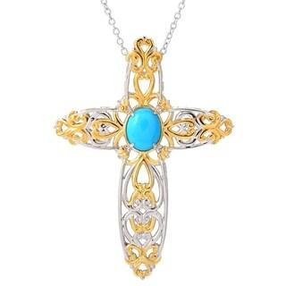 Michael Valitutti Palladium Silver Sleeping Beauty Turquoise Cross Pendant