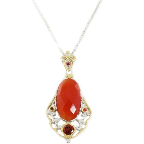 Michael Valitutti Palladium Silver Orange Chalcedony Garnet & Orange Sapphire Pendant