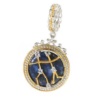 Michael Valitutti Palladium Silver Lapis Lazuli & White Topaz Gemini Constellation Drop Charm
