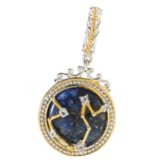 Michael Valitutti Palladium Silver Lapis Lazuli & White Topaz Aquarius Constellation Drop Charm
