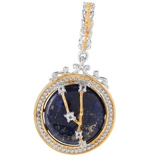 Michael Valitutti Palladium Silver Lapis Lazuli & White Topaz Taurus Constellation Drop Charm