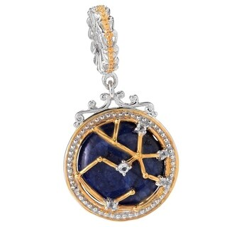 Michael Valitutti Palladium Silver Lapis Lazuli & White Topaz Sagittarius Constellation Drop Charm