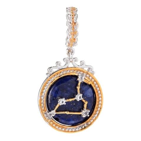Michael Valitutti Palladium Silver Lapis Lazuli & White Topaz Leo Constellation Drop Charm