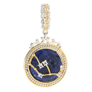 Michael Valitutti Palladium Silver Lapis Lazuli & White Topaz Virgo Constellation Drop Charm