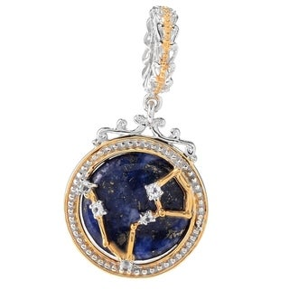 Michael Valitutti Palladium Silver Lapis Lazuli & White Topaz Pisces Constellation Drop Charm
