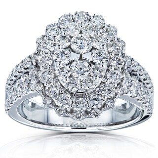 Annello by Kobelli 14k White Gold 1 3/4ct TDW Big Cluster Oval Engagement Ring (GH/I1) (More options available)