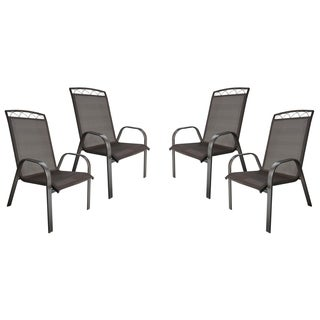 Monticello 4-PC Sling Dining Chairs-Dark Brown - N/A