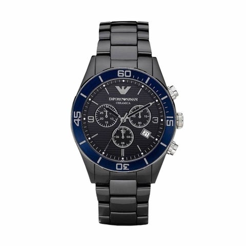 Emporio Armani Men's 'Ceramica' Chronograph Black Ceramic Watch