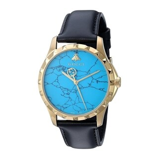 Gucci Men's 'G-Timeless' Black Leather Watch
