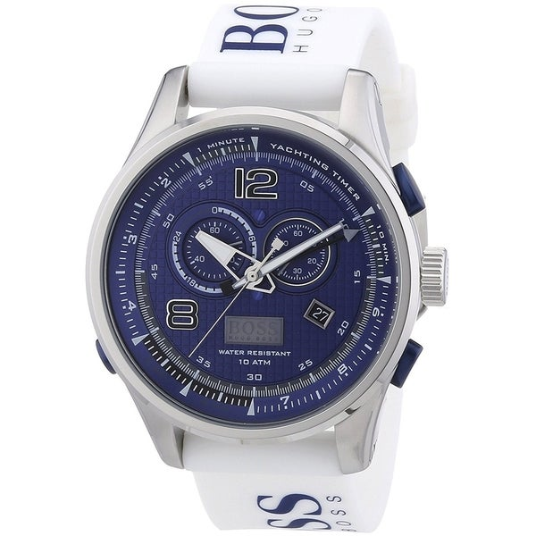 5b7bce7973f Shop Hugo Boss Men's 'Flywheel' Analog-Digital White Silicone Watch - Free  Shipping Today - Overstock - 22301931