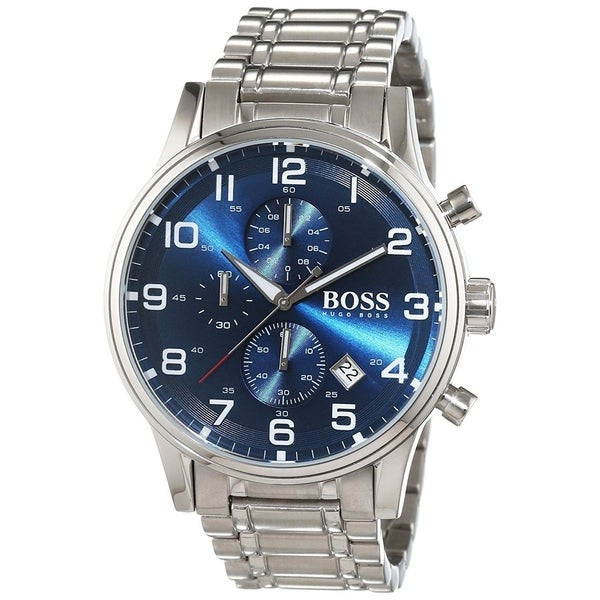 6880baf4f Shop Hugo Boss Men's 'Aeroliner' Chronograph Stainless Steel Watch - Free  Shipping Today - Overstock - 22301934