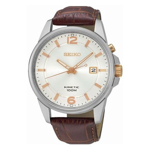 Seiko Men's 'Kinetic' Brown Leather Watch