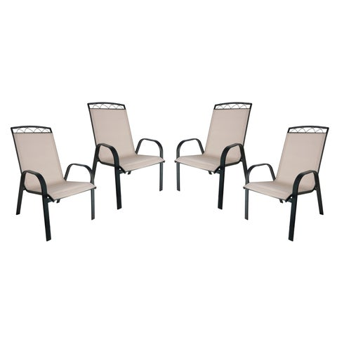 Monticello 4-PC Sling Dining Chairs-Black - N/A