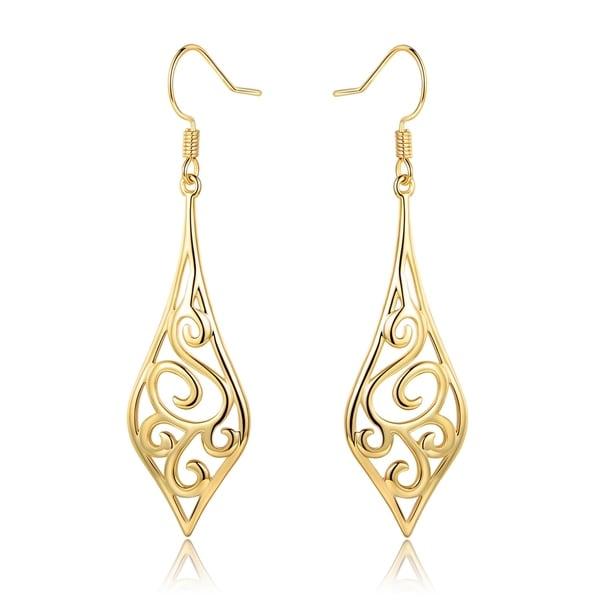 Gold Plated Diamond Shape Drop Earrings