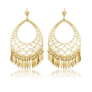 Gold Plated Gold Filigree Cut-out Dangling Earrings