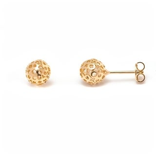 Gold & Crystal 6mm Caged Earrings Made with Swarovski Elements