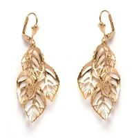 Gold Plated Gold Leaf Drop Earrings