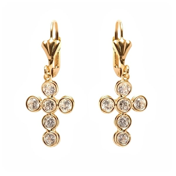 98539f7f7 Shop Gold Plated Cross Shape Swarovski Crystal Earrings - On Sale - Free  Shipping On Orders Over $45 - Overstock - 22302257