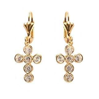 Gold Plated Cross Shape Swarovski Crystal Earrings