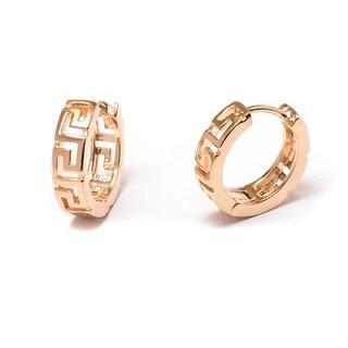 Gold Plated Greek Key Hoop Earrings