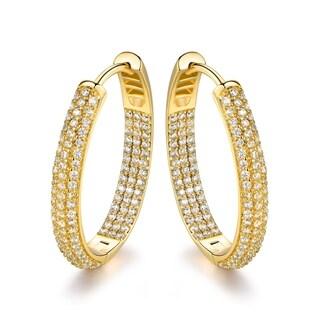 Gold Plated Cubic Zirconia Hoop Earrings