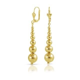Gold Plated Graduated Ball Dangle Earrings