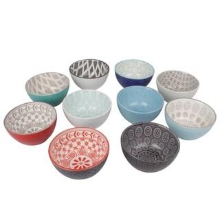 UTC54306-AST: Ceramic Round Bowl Assortment of Ten Assorted Color Coated Finish Polychromatic