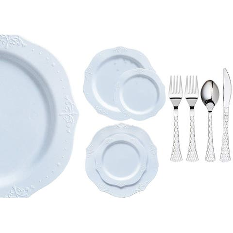 Royalty Settings Antique Collection Plastic Cutlery and Plastic Plates for Weddings, White, 20, 40, 80, 120, or 240 Settings