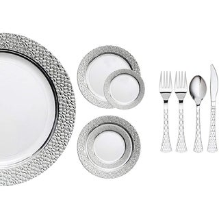 Royalty Settings Hammered Collection Plastic Cutlery and Plastic Plates for Weddings, White/Silver, 20 , 40, 80 or 120 Settings
