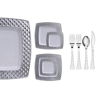 Royalty Settings Diamond Collection Plastic Cutlery and Plastic Plates for Weddings, White/Silver, 20, 40, 80 or 120 Settings