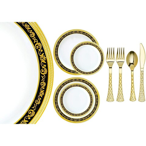 Royalty Settings Royal Collection Plastic Cutlery and Premium Plastic Plates for Weddings, Black/Gold, 20, 40, 80, 120 Settings