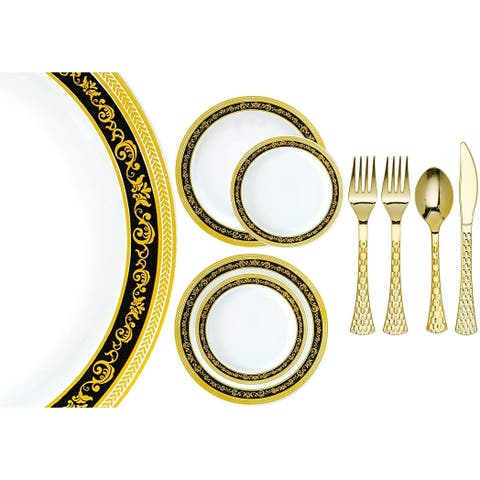 Royalty Settings Royal Collection Plastic Cutlery and Premium Plastic Plates for Weddings, Black/Gold, 20, 40, 80, or 120 Guests