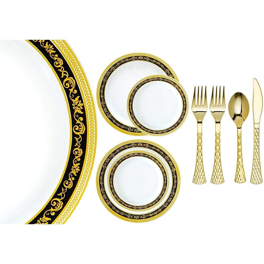 40 Black Elegant Square Disposable Plastic Wedding Dinner Plates FREE SHIPPING