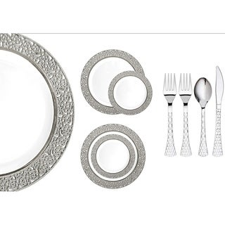 Royalty Settings Inspiration Collection Plastic Cutlery and Plastic Plates for Weddings, White/Silver, 20, 40, 80, 120 Settings (4 options available)