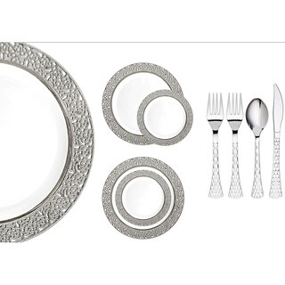 Royalty Settings Inspiration Collection Plastic Cutlery and Plastic Plates for Weddings, White/Silver, 20, 40, 80, 120 Settings