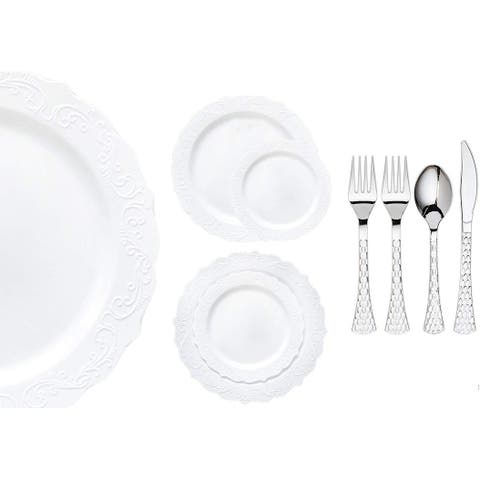 Royalty Settings Elegant Collection Plastic Cutlery and Premium Plastic Plates for Weddings, White, 20, 40, 80, or 120 Settings
