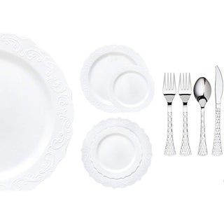 Royalty Settings Elegant Collection Plastic Cutlery and Premium Plastic Plates for Weddings, White, 20, 40, 80, or 120 Settings (4 options available)