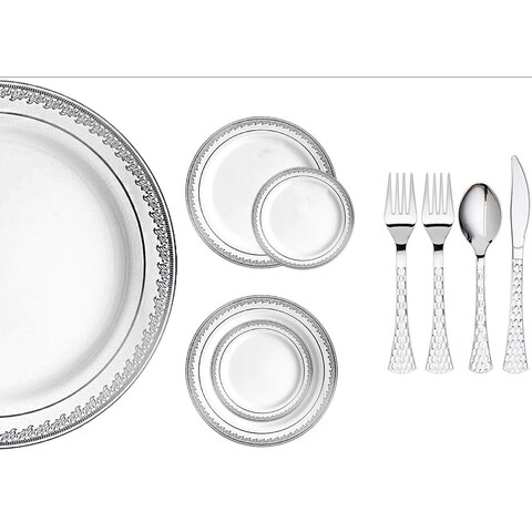 Royalty Settings Prestige Collection Plastic Cutlery and Plastic Plates for Weddings, White/Silver, 20, 40, 80, 120 Settings