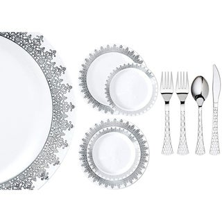 Royalty Settings Ornament Collection Plastic Cutlery and Plastic Plates for Weddings, White/Silver, 20, 40, 80, or 120 Settings